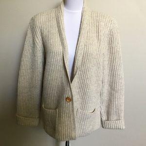 Vintage 80s LL Bean shetland wool cardigan L/XL